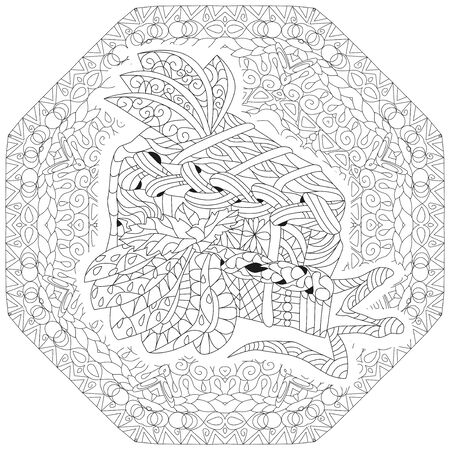 Vector piece of cake on a patterned round substrate. Hand drawn illustration for coloring book for adult, doodle style. Coloring pages. Illustration