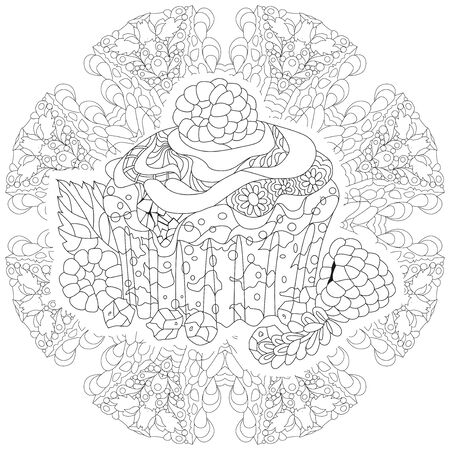 Vector piece of cupcake on a patterned round substrate. Hand drawn illustration for coloring book for adult, doodle style. Coloring pages.