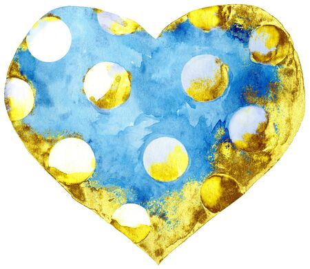 Watercolor blue heart with polka dots with gold strokes on a white background.