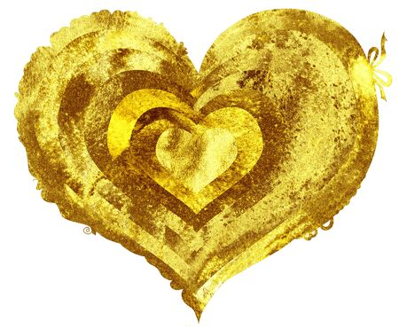 Watercolor gold heart with light and shade Foto de archivo - 139075283