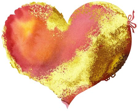 Watercolor textured red heart with gold strokes