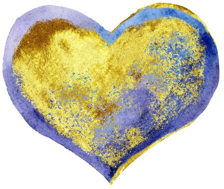 Watercolor textured purple heart with gold strokes