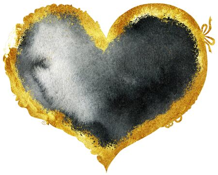Watercolor textured black heart with gold strokes