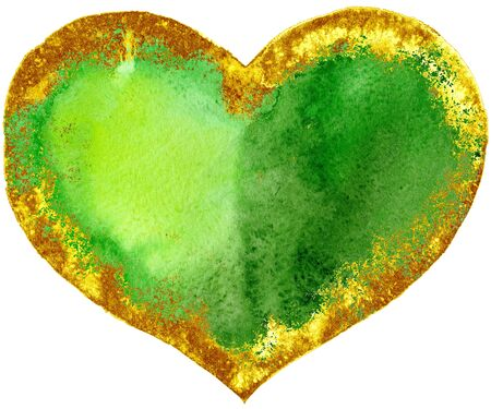 watercolor textured green heart with gold strokes