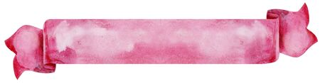 Watercolor hand-drawn illustration. Pink waving flag or banner 写真素材