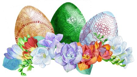 Watercolor Easter colored eggs with freesia and green grass on white background. Design element for greeting cards, note cards and invitations.