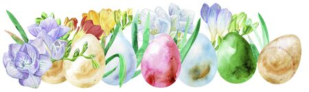 Watercolor Easter colored eggs with freesia and grass.