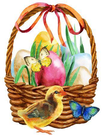 Watercolor illustration Easter basket with eggs, butterflies and chicken