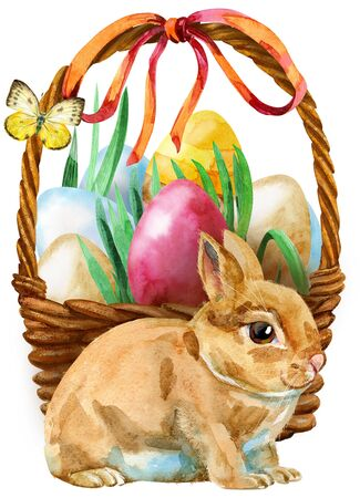 Watercolor illustration of beige rabbit and easter basket 写真素材
