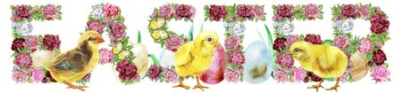 Watercolor illustration flower word EASTER with chickens and eggs