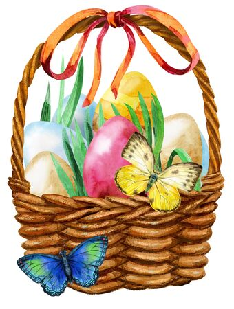 Waterciolor illustration of Easter basket filled with eggs 写真素材 - 137260294