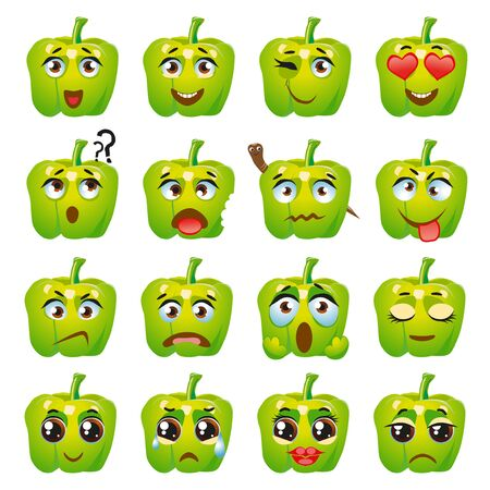 Set of vector stickers, emojis with cute green pepper
