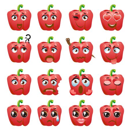 Set of vector stickers, emojis with cute pepper