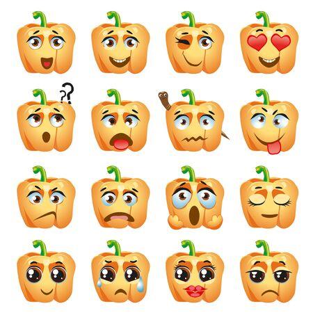Conjunto de pegatinas de vector, emojis con lindo pimiento naranja
