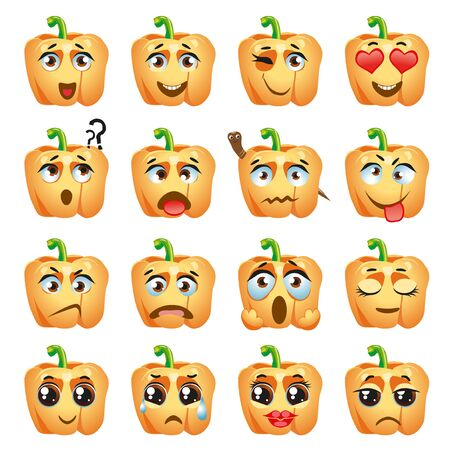 Set of vector stickers, emojis with cute orange pepper  イラスト・ベクター素材