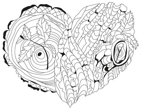 Vector adult coloring book textures with tree bark texture. Hand-painted art design. Adult anti-stress coloring page. Black and white hand drawn illustration of heart for coloring book.