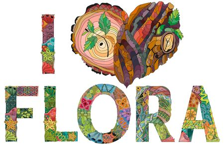 I love flora with heart with tree bark texture. Hand-painted art design.