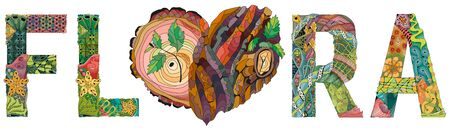 FLORA with heart with tree bark texture. Hand-painted art design.