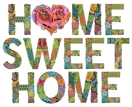 Hand-painted art design. Hand drawn illustration word HOME SWEET HOME with heart for t-shirt and other decoration