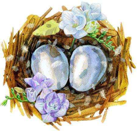 Nest with eggs and freesia. Painted with watercolors on white background. Spring decoration. Decorating for Easter. 写真素材 - 137891496