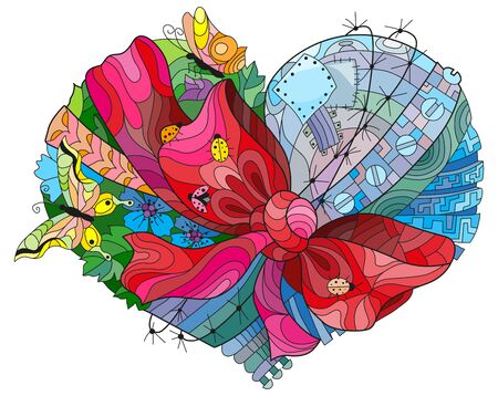 Vector adult coloring book textures heart tied with a ribbon and a bow. Hand-painted art design.