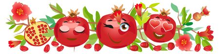 Pomegranate border. Funny cute faces character Foto de archivo - 138928803
