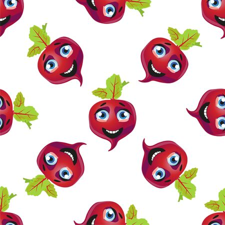 Seamless pattern beetroot. Funny cute faces character Foto de archivo - 139154503