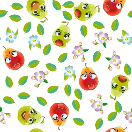 Seamless pattern fruit pear. Funny cute faces character Foto de archivo - 139154517