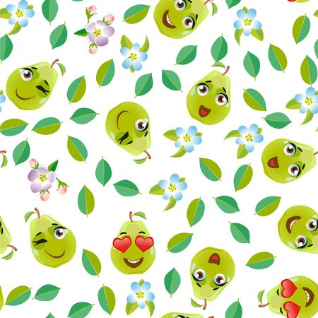Seamless pattern fruit pear. Funny cute faces character Foto de archivo - 139154621