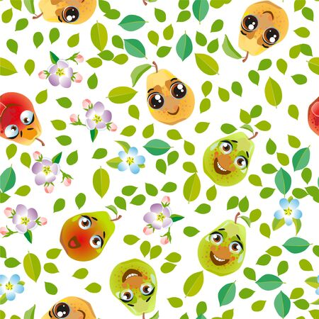 Seamless pattern fruit pear. Funny cute faces character Çizim