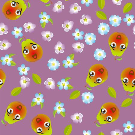 Seamless pattern fruit pear. Funny cute faces character Foto de archivo - 139154524