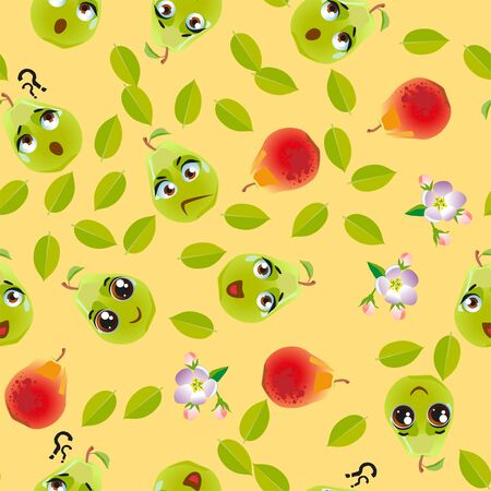 Seamless pattern fruit pear. Funny cute faces character Foto de archivo - 139154628