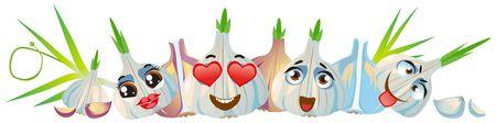 Garlic border. Funny cute faces character Foto de archivo - 139154653