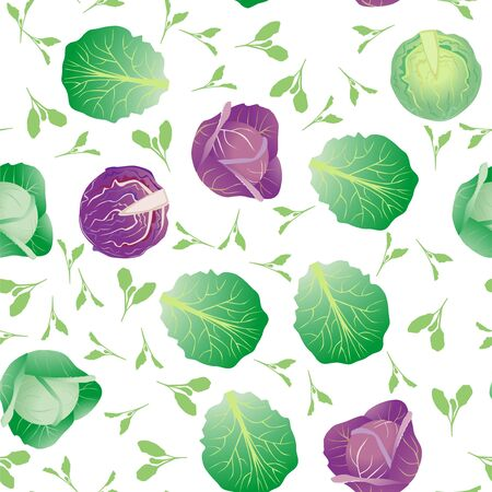 Seamless pattern cabbage. Funny cute character