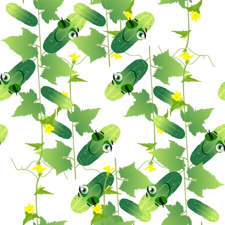 Seamless pattern cucumber. Funny cute faces character