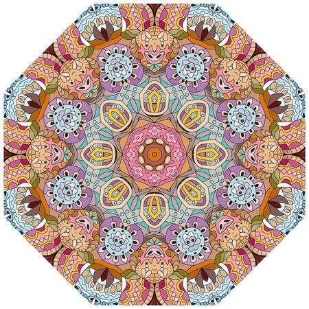 Decorative round ornaments. Unusual flower shape. Oriental vector, Anti-stress therapy patterns. Weave design elements. Yoga logos Vector. Foto de archivo - 139474059