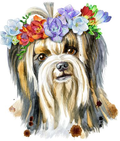 Watercolor portrait of yorkshire terrier breed dog with wreath of freesia.