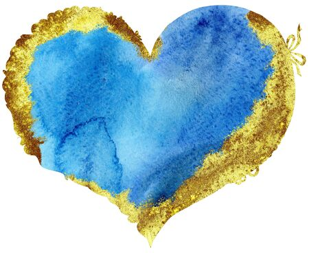 watercolor blue heart with gold strokes, painted by hand Foto de archivo - 139748551