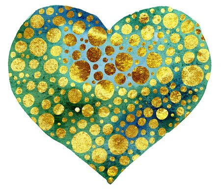 Watercolor heart with with gold dots, painted by hand Foto de archivo - 139851110