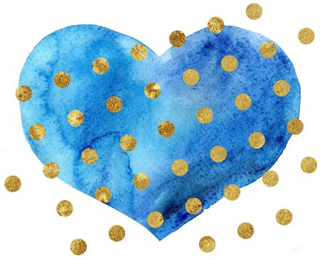 Watercolor heart with gold dots, painted by hand Foto de archivo - 139854225