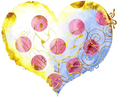 Watercolor white heart with pink polka dots with a lace edge on a white background. Foto de archivo - 140128288