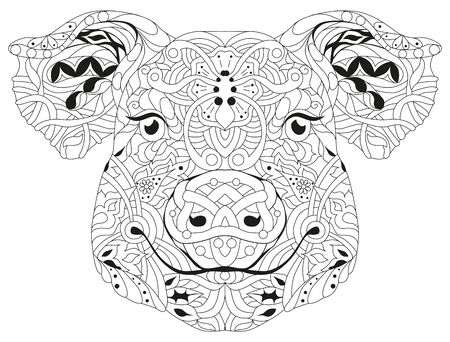 Head of pig styled for t-shirt design, for coloring, tattoo and other decorations