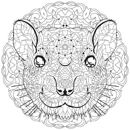 stylized rat head on a circular ornament. Hand Drawn lace vector illustration for coloring