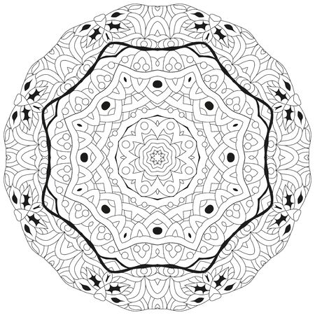 Decorative round ornaments. Unusual flower shape. Oriental vector, Anti-stress therapy patterns. Weave design elements.