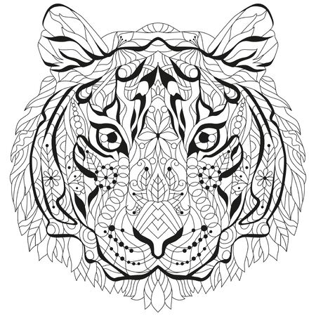 Head of tiger styled for t-shirt design, for coloring, tattoo and other decorations Ilustrace