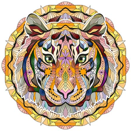 Head of tiger styled with mandala for t-shirt design, tattoo and other decorations