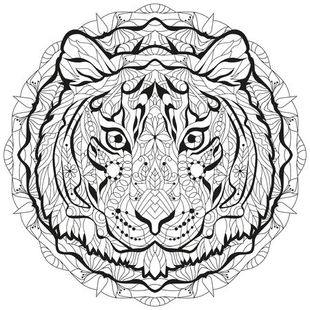Head of tiger styled with mandala for t-shirt design, for coloring, tattoo and other decorations