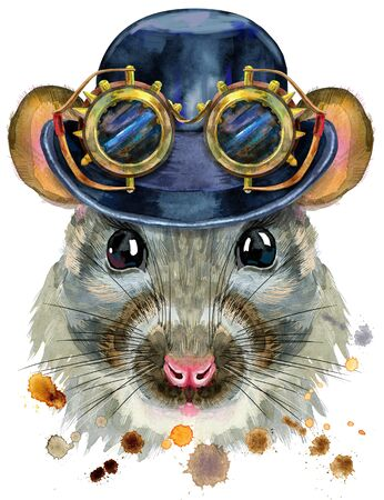 Cute rat with hat bowler and steampunk glasses. for t-shirt graphics. Watercolor rat illustration