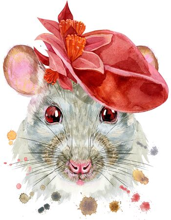 Cute white rat with red hat and for t-shirt graphics. Watercolor rat illustration