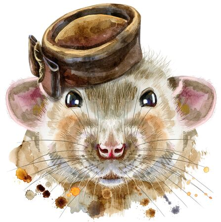 Cute rat with brown hat and for t-shirt graphics. Watercolor rat illustration Reklamní fotografie